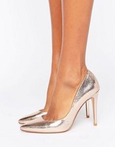 Dune Aiyana Rose Gold Metallic Heeled Court Shoe - Золотой