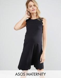 Цельнокройное платье с фигурными краями ASOS Maternity TALL - Черный