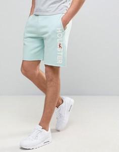 Синие трикотажные шорты с логотипом сбоку Hollister - Синий