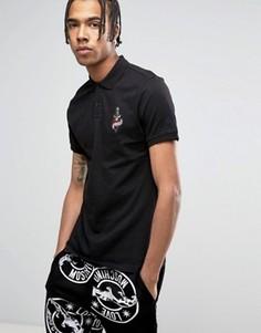 Футболка-поло с вышивкой на груди Love Moschino Tattoo - Черный