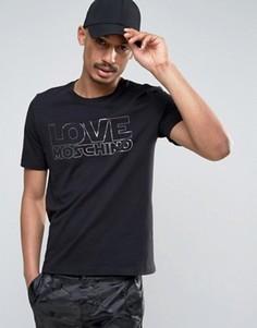 Футболка с серебристым принтом логотипа Love Moschino - Черный