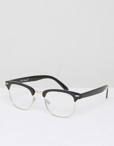 Очки с прозрачными стеклами в черной полуоправе AJ Morgan - Черный