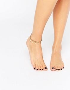 Браслет на ногу с дисками Pieces - Золотой