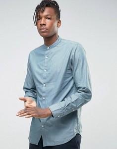 Джинсовая рубашка стандартного кроя с воротником на пуговицах Selected Homme - Синий