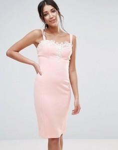 Платье с вырезом сердечком и ажурной отделкой Paper Dolls - Розовый