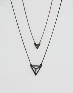 2 ожерелья с геометрическими подвесками Icon Brand - Черный