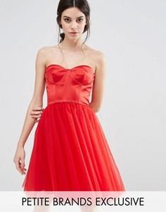 Платье с корсетом и юбкой из тюля Chi Chi London Petite - Красный