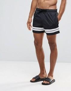 Короткие шорты для плавания с двумя полосками Bravesoul - Черный