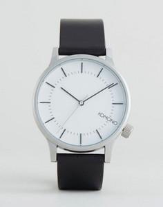 Серебристые часы с черным кожаным ремешком Komono Winston Regal - Черный