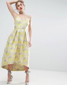 Жаккардовое платье миди для выпускного с цветочным узором ASOS SALON - Фиолетовый