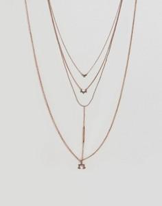 Многорядное ожерелье с планкой и подвесками ASOS - Медный