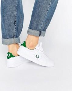 Бело-зеленые кожаные кроссовки Fred Perry - Белый