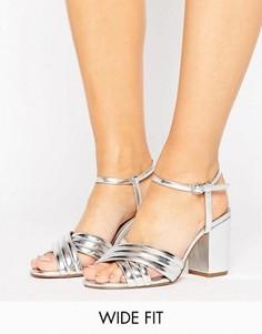 Босоножки на каблуке для широкой стопы ASOS HAZEL - Серебряный