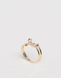 Незамкнутое кольцо на мизинец с камнями ASOS - Розовый