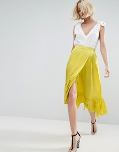 Атласная юбка с кромкой-оборкой ASOS - Желтый
