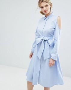 Длинное платье-рубашка с открытыми плечами Lost Ink - Синий