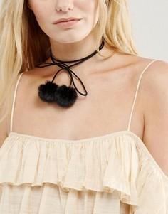 Ожерелье-чокер с помпонами New Look - Черный