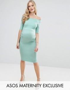 Платье с открытыми плечами для беременных ASOS Maternity - Зеленый