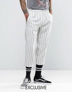 Свободные брюки в полоску Reclaimed Vintage Inspired - Белый