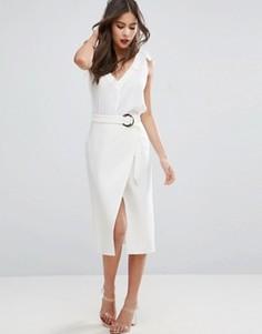 Асимметричная юбка-карандаш с D-образным кольцом ASOS - Белый