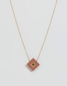 Ожерелье с ромбовидной подвеской Wolf & Moon - Золотой