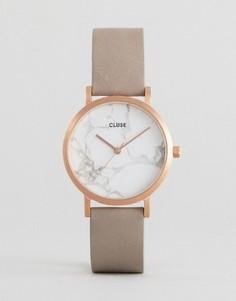 Часы с мраморным принтом на циферблате и серым кожаным ремешком Cluse La Roche - Серый