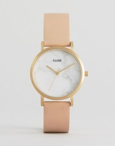Часы с мраморным принтом на циферблате и розовым кожаным ремешком Cluse La Roche - Розовый