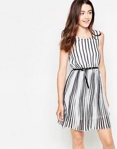 Короткое приталенное платье в полоску Mela Loves London - Черный