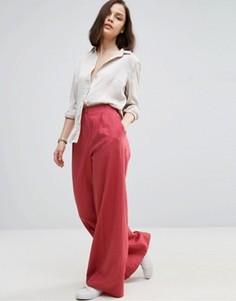 Широкие льняные брюки ASOS - Розовый
