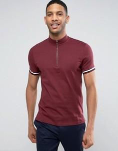 Бордовая футболка с воротником-стойкой на молнии и рукавами в рубчик ASOS - Красный