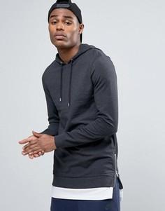 Обтягивающее худи с молниями по бокам и футболка ASOS - Серый