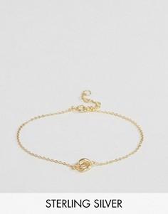 Позолоченный серебряный браслет с узлом ASOS - Золотой