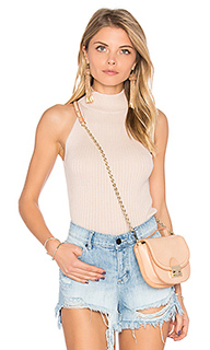 Rib mock neck halter sweater - Autumn Cashmere