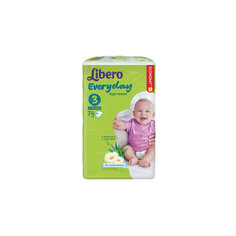 Подгузники Libero Everyday, Midi 4-9 кг (3), 74 шт., Mega