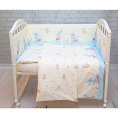 Комплект в кроватку 6 пред., Зайка Baby Nice, голубой