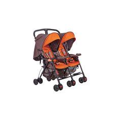 Прогулочная коляска для двойни 05SD593E, Geoby, коричнево-оранжевый