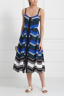 Платье из хлопка и шелка Fendi