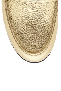 Лоферы из металлизированной кожи Fendi