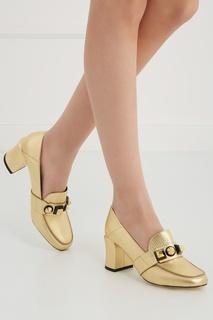 Туфли из металлизированной кожи Fendi