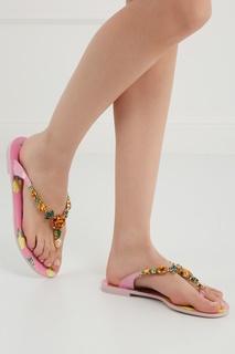 Сандалии с кристаллами Dolce & Gabbana