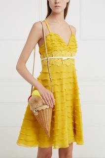 Кожаная сумка с мехом кролика Dolce & Gabbana