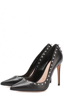 Кожаные туфли со стразами на шпильке Alexander McQueen