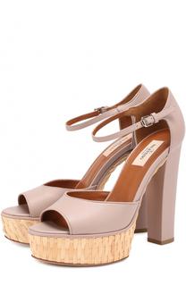 Кожаные босоножки Baracoa на устойчивом каблуке и платформе Valentino