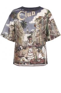 Льняная футболка свободного кроя с принтом Dolce & Gabbana