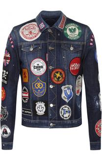 Джинсовая куртка с контрастными нашивками Dsquared2