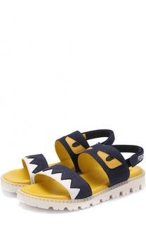 Кожаные сандалии с аппликацией Fendi Roma