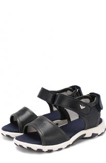 Кожаные сандалии с застежками велькро Giorgio Armani