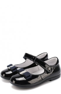 Лаковые туфли с застежкой велькро и бантом Naturino