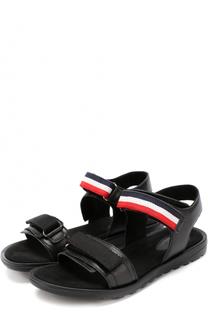Кожаные сандалии с застежками велькро Moncler Enfant