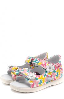 Кожаные сандалии с принтом и аппликациями Falcotto